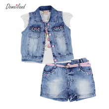 Buy 2017 fashion summer domeiland children clothing sets girl outfits Denim jackets cotton floral tops shorts pant suits clothes for $39.85 in AliExpress store