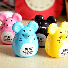 2 pcs Random Color Mini Kawaii Funny Cute Lovely Mouse Pattern Pencil Eye Pen Pencil Sharpener School Kid's Favorite