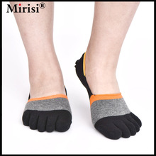 6 Pairs MIRISI Summer Man's Invisible Boat 5 Toe Socks Black and Grey Patchwork Non Slip(China)