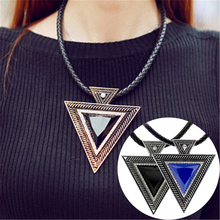 LNRRABC New 2016 Vintage Leather Pendant Women Rhinestones Triangle Necklace Sweater Chain Party Fashion Jewlery(China)