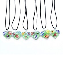 New Art 3D heart Lampwork Murano Glass Pendant Necklace For Women Blue Green Red yellow Multi Color Pendant Necklaces Jewelry