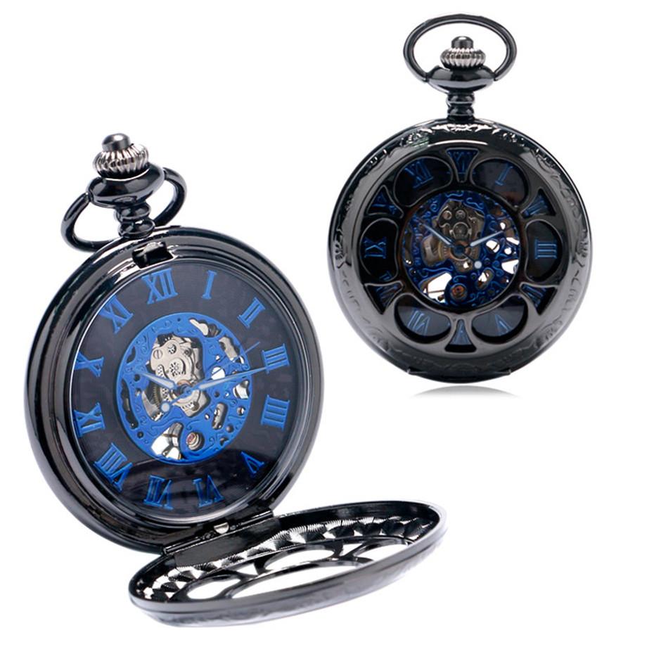 YISUYA Luxury Steampunk Hollow Skeleton Mechanical Pocket Watch Roman Numerals Dial Vintage Fob Chain Pendant Clock Men Women Gifts (4)