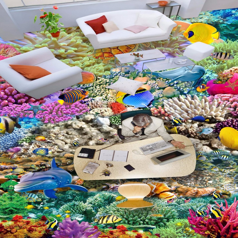 Free Shipping Multi Colored coral 3D underwater world floor mural non-slip custom PVC floor wallpaper mural<br>