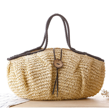 Big Beach Bags Women Large Zipper Tote Bags For Women Branded 2017 Straw Handbag Summer Fashion Shoulder Casual Bag High Quality(China)