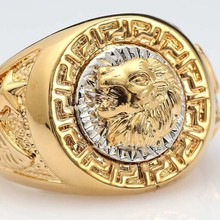 Fatpig Fashion Men's 19mm Band Ring Cool Lion Eagle Star Jewelry Size 8-12 Rings for Men Male Party Ring