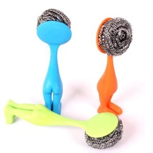 Hot Selling 1 PCS Stainless Steel Scourer with Plastic Handle Durable Pot Scrubber Cleaning Brush Kitchen Accessory Tools