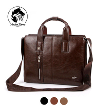 New brand men's briefcase vintage brown leather briefcase Business Shoulder Bags high Quality leather laptop briefcase bag