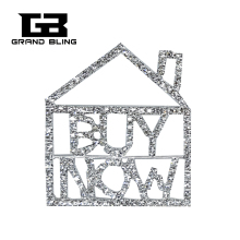 "Fantastic Design of BlingBling Crystal Words Lapel Pin""Buy Now for a House"" as the Unique gift to Real Estate Sales"