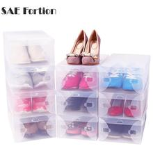 SAE Fortion 28*18cm Household Plastic Clear Shoe Boot Box Stackable Foldable Storage Organizer
