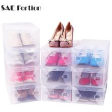 SAE Fortion 28*18cm Household Plastic Clear Shoe Boot Box Stackable Foldable Storage Organizer(China)