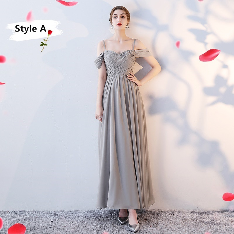 SOCCI Weekend Long Bridesmaid Dresses 2017 Sliver Sleeveless Sister Dress Grey Off shoulder Formal Wedding Party Gowns Robe de 5