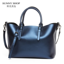 SUNNY SHOP 100% LUXURY Genuine Leather Women Shoulder Bag Brand Designer Cowhide genuine leather handbags Skin Crossbody bag(China)