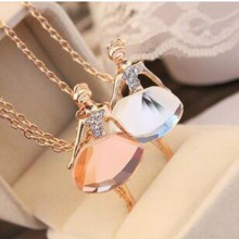 Trendy Jewelry Celebrity  Style Rhinestone Crystal Faxu Stone Jewelled Adorable Dancing Girls Pendant Necklace