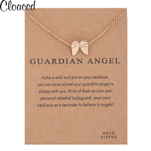 Cloaccd Fashion Guardian Angel Necklaces Women Gold Color Chain Angel Wings Pendant Necklace Birthday Gifts With Card(China)