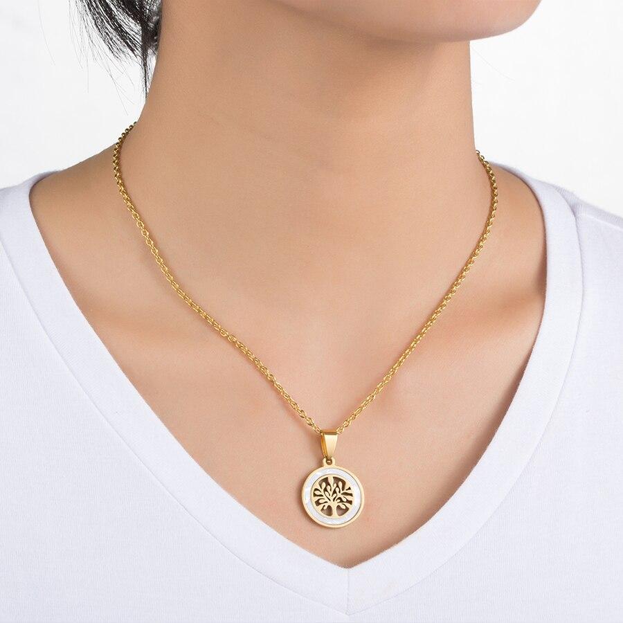 HOBBORN Classic Women Love Pendants & Necklaces Titanium Steel Shell Tree of Life Pendant Men Female Necklace Wedding Jewelry