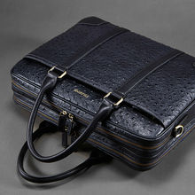 first class 100% genuine leather men brand business handbag, ostrich leather male computer bags, fashion design luxury handbags