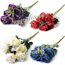 1pcs 7 heads Artifitial silk Rose fake flowers Home party wedding lifelike decor(China)
