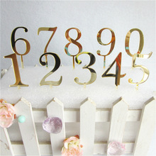 1pcs New Gold Number 0 1 2 3 4 5 6 7 8 9 Birthday Cake Topper Acrylic Golden Children Birthday Annivesary Party Decoration