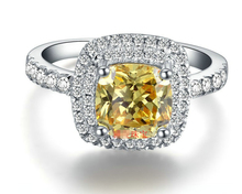 Hot 2 Carat Cushion Cut ENGAGEMENT  RING, sterling silver jewelry, yellow stone, women weeding ring