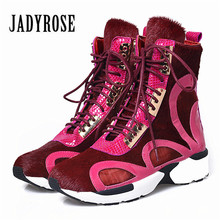 Jady Rose Women Horsehair Ankle Boots Lace Up Platform Comfortable Travel Shoes Female Flat Rubber Boot Espadrilles Creepers(China)