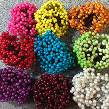 40Pcs/lot Berries Artificial Flower Stamens DIY Artificial Cherry Pearlescent Fruit For Wedding Marriage Room Decor 8zcx-ca155
