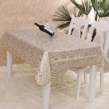 PVC Tablecloth Waterproof Europe Rural Style Oilproof Waterproof Tablecloth Bronzing Table Cloth Rectangular Table Cover
