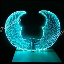 CY04 Colorful LED illuminated luminous glowing light butterfly wings ballroom dancing belly party dress dj cloth rechargeable