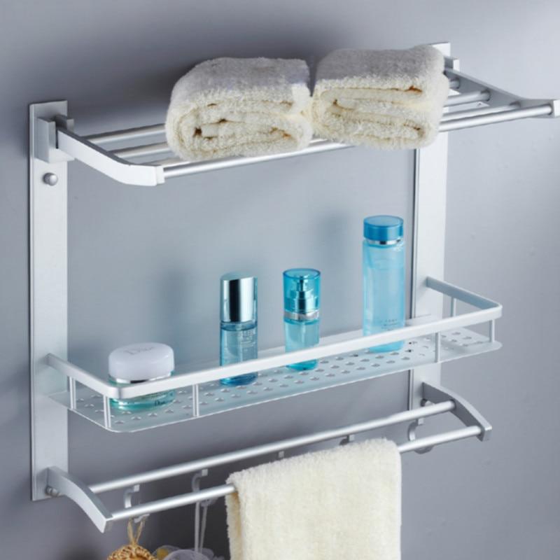 Bathroom Multifunction Bathroom Storage Hanging Rack With Hooks Space Aluminum Shelf Towel Rack Bathroom Shelf With Towel Rack<br><br>Aliexpress