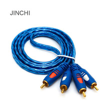 JINCHI 24k Gold-plated 3.5mm 2rca Red And White Rca Turn TwoPoint Two Av Audio Cable 1.5 M 3 M 5 M