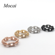 Latest Hollow Simple Chain Rings For Women Brand design  Gold AAA Cubic Zirconia 2016 Women Accessories ZK35