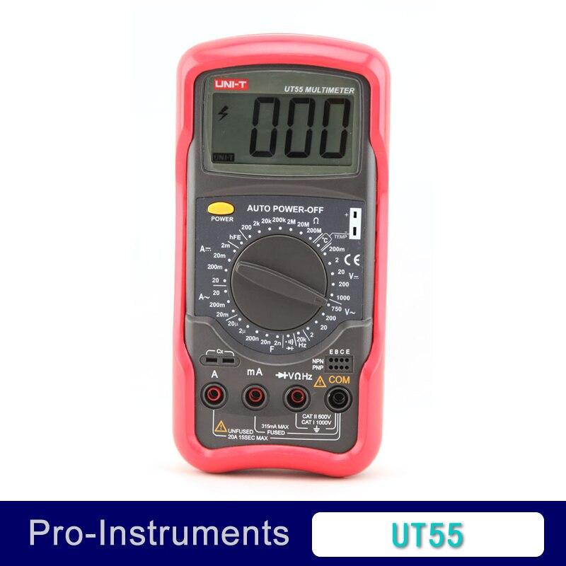 UNI-T UT55 Digital Multimeter 1000V 20A DMM AC DC Voltmeter Resistance Diode Temperature test Palmsize Max Holster <br>