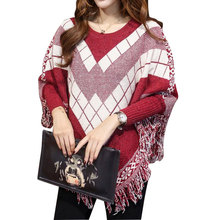 Women Oversized Sweaters Plaid Street Tassel Batwing Sleeve Midi Pullover Sweater Womens Capes and Ponchoes Knitwear Sudaderas