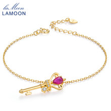 LAMOON Red Ruby Jewelry Girl's Bracelet 925 Sterling-silver-jewelry Bracelets for Women Crown Key Pendant Natural HI034(China)