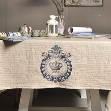 1PC Multi-size Blue Crown Tablecloth For Home Decoration Beige Linen Table Cloth For Wedding Party Outdoor Table Cover
