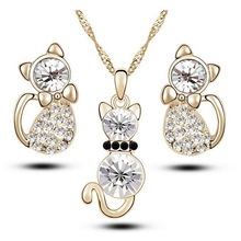 2017 Summer Style Gold/Silver Chain Mix Colorful Fashion Crystal Kitty Cute Jewelry Sets Necklace+Earrings for Women Engagement(China)