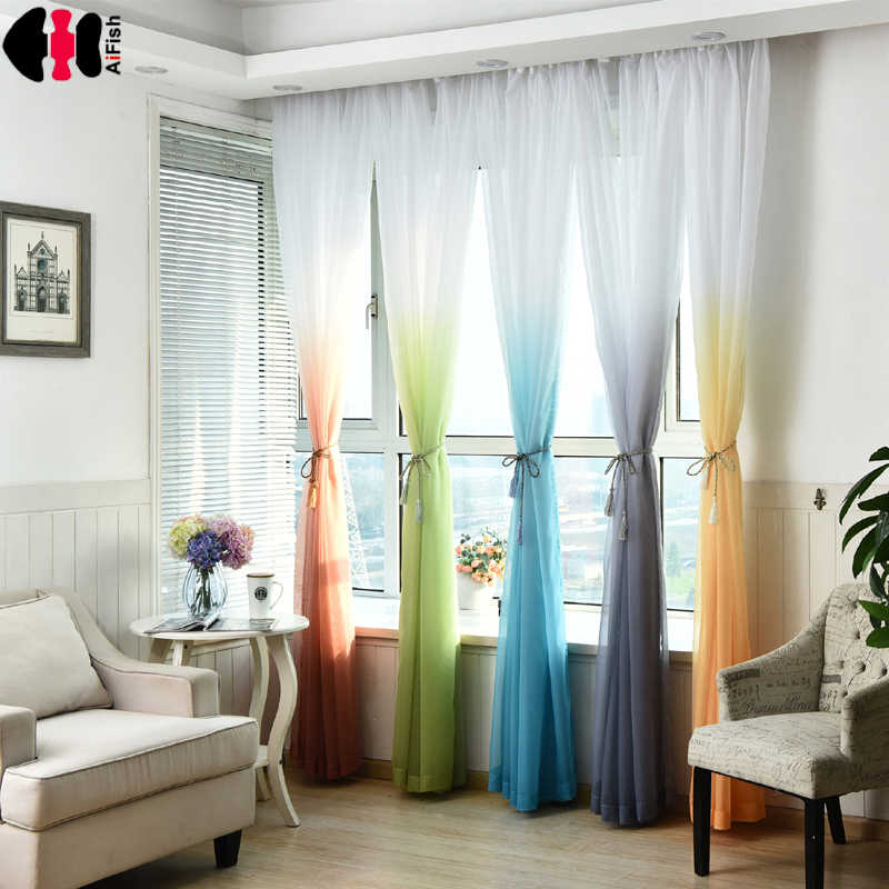 Wedding ceiling drapes Baby Room Soft Multi Color Blinds Living Room yellow curtains Tulle Voile Window Drapes Gauze Panel P185D