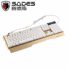 Sades Waterproof 3 Backlights Professional Support Multi-Language Metal Gaming Keyboard USB Wired Powered Full Game Keyboard(China)