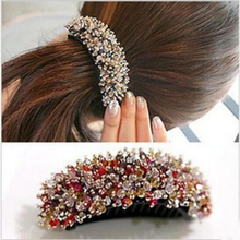 Korea Hair Beaded Jewelry banana hairclip Hair buckles Women Banana hair clips Crystal Rhinestones Hairgrip Headwear Accessories