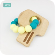 MamimamiHome Baby Bracelets 4pcs Beech Wood Key Chew Silicone Beads Nursing Accessories Teether Baby Shower Gifts Baby Rattles(China)