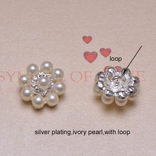 (J0293) 23mm diameter round pearl rhinestone button,ivory pearl +crystals in silver or light rose gold plating,with loop at back