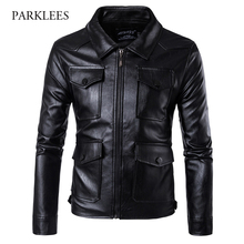 Buy PU Leather Jacket Men Jaqueta De Couro 2017 Winter Fashion Motorcycle Leather Jacket Zipper Casual Mens Jacktes Coats 5XL for $38.68 in AliExpress store