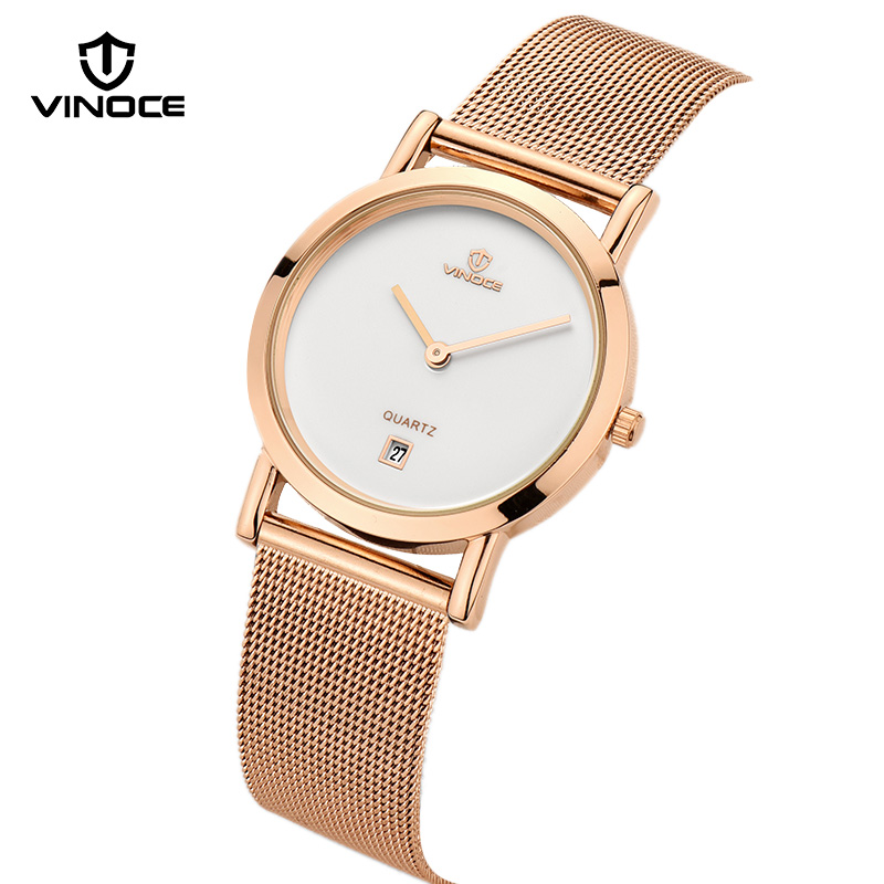 VINOCE Watches Women Rose Gold Stainless Steel Band Quartz Watches Women Bracelet Ladies Wristwatches 2017 Reloj Mujer #V60002<br>