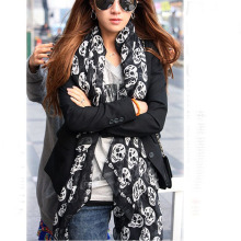 Popular High Quality Autumn and Winter Women Voile Skull Scarf