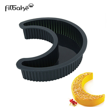 FILBAKE Black Silicone Moon Shape Mold Embossing Dies Sugar Art Tool DIY Cake Decorating Tools Candy Cake Mold cake Tools