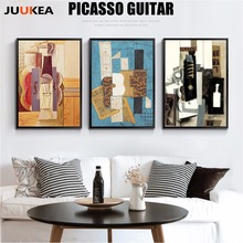 Artists Pablo Picasso Guitar Splicing Abstract Canvas Oil Painting Printing Art Poster Wall Picture For Living Room, Home Decor