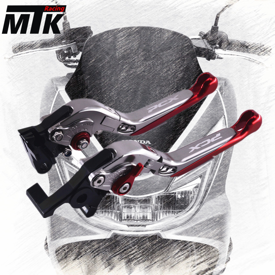 MTKRACING Motorcycle Brake Clutch Levers For HONDA PCX 125/150 all years CNC Foldable Extending With LOGO PCX <br>