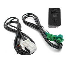 2in1 USB With AUX Switch Button Knob Adapter Harness AUX Cable For BMW Series 3 Series Z X5 X6