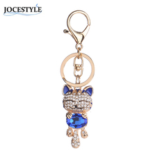 7 styles Lucky Smile Cat Keychain Crystal Keyrings Purse Bag Car Keychains Fashion Jewelry Rhinestone Key Ring