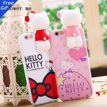 Hot Korea Cat Design coque for Iphone 7 6 6s 6plus 5 5s SE 3D hello kitty phone case coque funda carcasa capa soft Silicon cover
