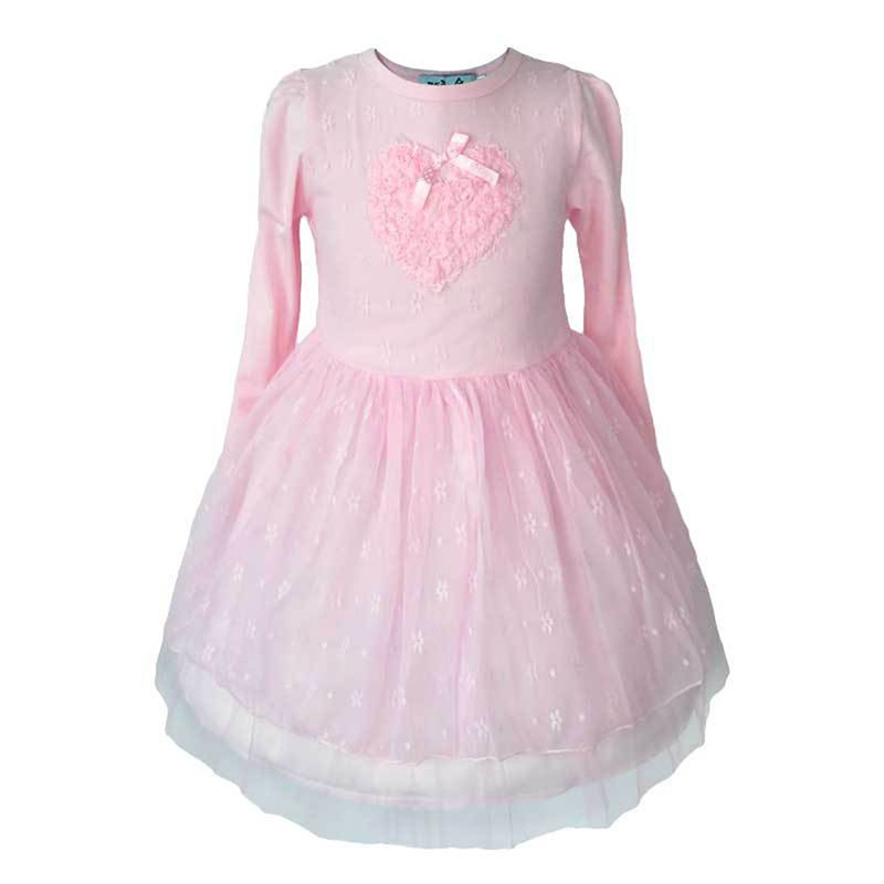 Pinks Kid Baby Girls Lace Party Dresses Long Sleeve 3D Heart Tulle Tutu Dress 2-7Y<br><br>Aliexpress